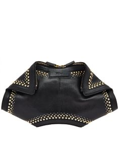 Alexander Mcqueen Black De Manta Studded Leather Clutch Bag in Black - Lyst Alexander Mcqueen Clutch, Clutches For Women, Leather Clutch Bags, Studded Leather, Women's Accessories, My Style, Lady, Clothes, Designer Bags