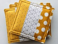 Patchwork Quilted Fabric Coasters 6 pack, Beverage Caddy, You Pick the Colorsâ? With These Minus Fabrics You Can Add Color to Your Snack Tables - Explore Trending Patchwork Quilted Fabric Coasters-- I could do this for window seat and/or piano bench Coa Quilted Coasters, Quilted Potholders, Fabric Coasters, Sewing Hacks, Sewing Crafts, Sewing Tips, Sewing Tutorials, Sewing Ideas, Sewing Basics