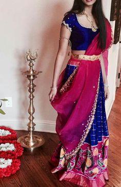 Blue and pink combination Half Saree Designs, Lehenga Designs, Saree Blouse Designs, Indian Gowns, Indian Attire, Indian Outfits, Indian Wear, Half Saree Lehenga, Lehnga Dress
