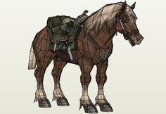 Epona Horse Paper Model - by Phh29 - via Le Forum En Papier  ==          A really beautiful paper model of Epona, the Link`s horse in Zelda Videogame. This nice model was created by French designer Phh29 and was originally posted at Le Forum En Papier.