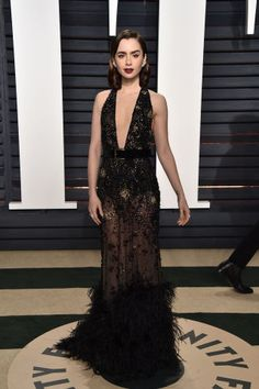 Lily Collins looked every bit the classic Hollywood star in this Elie Saab gown at the 2017 Vanity Fair Oscar Party