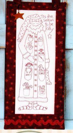 Stitchery de patrón - Jolly Santa - rápido y fácil Navidad patrón y tela impresa - la pajarera