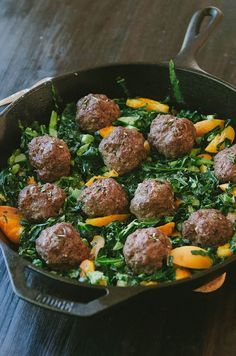 Honest Whole 30 Recap, Week Three + Rosemary Meatballs With Dijon Collard Greens & Apricots + Enter to WIN the Autoimmune Paleo Cookbook! Whole30 Recipes, Beef Recipes, Gluten Free Recipes, Whole Food Recipes, Healthy Recipes, Cooking Recipes, Healthy Meals, Diabetic Meals, Healthy Options