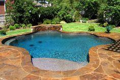 Image result for small inground pool tanning ledge slide