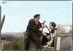 Sous-Lieutenant Pierre Closterman (left) congratulates Flight Lieutenant K L Charney in the cockpit of his Supermarine Spitfire Mark IXB, on their return to B11/Longues, Normandy, after an evening sortie in which they each shot down a Focke Wulf Fw 190. Both pilots were serving with No. 602 Squadron RAF.