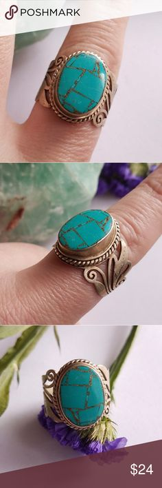 Boho stone ring turquoise color inlay 10.25 This very boho style ring has turquoise blue color   stone inlay with metallic gold tone filler between the stones. Size 10.25 (10 1/4) The ring has a pretty scrolled design setting made of silvery -gold tone metal. There are no stamps inside the band. This ring is in very nice condition with minor wear. From a smoke free home. Offers welcome :)   SunF8188blue6b4d Jewelry Rings