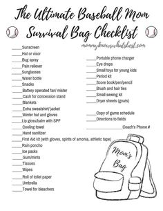 to Pack the Ultimate Baseball Mum Survival Bag (Printable Checklist!) How to Pack the Ultimate Baseball Mum Survival Bag (Printable Checklist!),How to Pack the Ultimate Baseball Mum Survival Bag (Printabl. Softball Tournaments, Softball Bags, Baseball Tournament, Softball Mom, Baseball Coaches, Senior Softball, Softball Cheers, Softball Crafts, Softball Pitching
