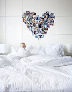heart shaped pictures ::// white master bedroom ::// wall panels DIY ::// styling judith van mourik