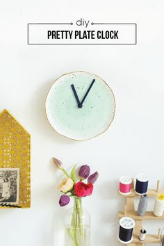 Turn a pretty piece of pottery into a plate clock for the wall! | www.homeology.co.za