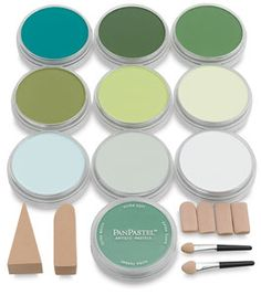 PanPastel Greens, Set of 10 [I dislike most pastels because of the feel of them on my hands, which already become extremely dry very easily. These look like the PERFECT solution to that!!! I'll have to save up, though!