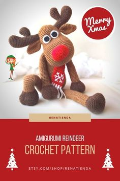 Rudolph the Red Nose Reindeer Amigurumi pattern. Christmas Crochet Deer Pattern. The read crocheted dol is ideal for holiday decoration. This Crochet PATTERN is a DOWNLOADABLE TUTORIAL. Written in English using US terminology. #christmascrochet #rudolphcrochetdoll #reindeeramgurumi #amigurumidoll Crochet Deer, Cute Crochet, Crochet Dolls, Crochet Animals, Reindeer Decorations, Handmade Christmas Decorations, Amigurumi Patterns, Amigurumi Doll, Holiday Crochet Patterns