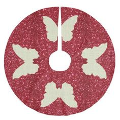 Lace Butterfly On Red Glitter Christmas Tree Skirt http://www.zazzle.com/lace_butterfly_on_red_glitter_christmas_tree_skirt-256789903739592867?rf=238271513374472230  #christmas  #christmasdécor  #treeskirts