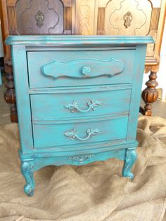 French Bedside Table PAINT to ORDER Vintage Painted Furniture
