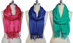 Made with stylish tassel detailing on the edges, these versatile and cozy pashmina scarves can also be styled and worn as a shawl or a wrap