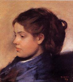 Edgar Degas - Portrait of Emma Dobigny : museum Edgar Degas, Pierre Auguste Renoir, Edouard Manet, Mary Cassatt, Camille Pissarro, Portraits, Portrait Art, Claude Monet, Degas Paintings