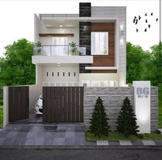 Pin by Civil Engineering Discoveries on Modern House Design Ideas Modern Exterior House Designs, Narrow House Designs, Modern Small House Design, Modern Minimalist House, Simple House Design, Dream House Exterior, Exterior Design, Two Story House Design, 2 Storey House Design
