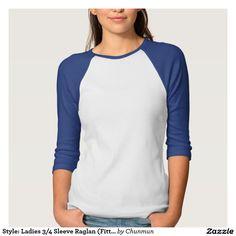 Style: Ladies 3/4 Sleeve Raglan (Fitted) Tshirts