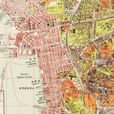Vintage old Map of Hong Kong