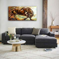 The Bull animal Art Giclee on canvas home interior by Artcoast