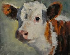 calf head finished ~   A Dynamic Animal Portrait Oil Painting Demo by Phil Beck