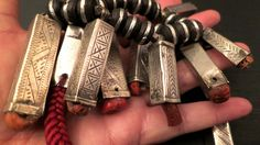 Vintage Morocco Berber silver Fibula caps pendants with coral beads and black wooden Tuareg beads silk necklace door tribalgallery op Etsy