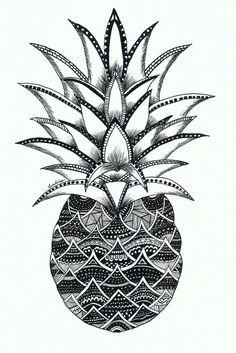 Something new I tried. Up Tattoos, Future Tattoos, Mandala Design, Mandala Art, Pinapple Tattoos, Wallpaper Fofos, Pineapple Art, Zentangle Patterns, Zentangles