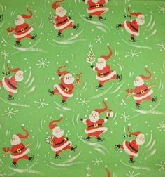 Vintage Wrapping Paper Skating Santa