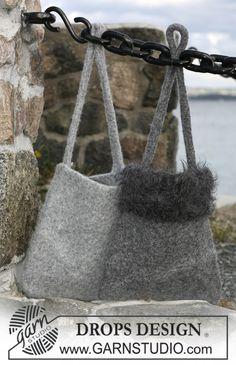 DROPS základní plstěná taška pletená z příze Eskimo a Puddel.