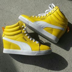 Puma Yellow Wedge Sneakers BRAND NEW....All leather yellow wedge puma sneakers Puma Shoes Sneakers