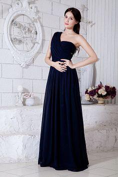 Une Ligne-Robe Bleue Soirée Perlage rs1382 - Tissu: Mousseline De Soie; Décolleté: Une Épaule; Silhouette: Une Ligne-; Fermeture: Fermeture À Glissière - Price: 195.9900 - Link: http://www.robesoirees.com/une-ligne-robe-bleue-soiree-perlage-rs1382.html