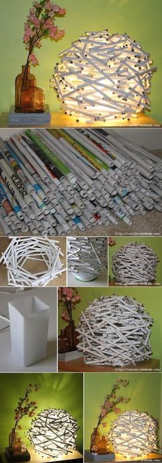 DIY : Newspaper Tube Night Light | My-FavThings | Bloglovin'