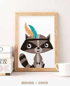 Racoon Adventure Indian Printable Poster Kids от MochaAndCoco
