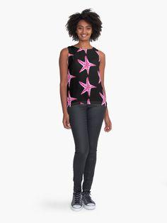 'Pink and Purple Starfish' Sleeveless Top by Niina Niskanen Nautical Shirt, Nautical Tops, Starfish, Wearable Art, Shirt Designs, Chiffon, Tank Tops, Black Art, Purple