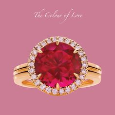 Rich red Rubellite and Argyle Pink Diamonds crafted in 18ct Rose Gold -- the Colour of Love by Calleija.