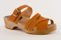 PIA Orange Sandal - Walk the Walk in these clog sandals which will give you comfort and coolness for your toes. Constructed on our low 1 3/4-inch heel height with soft orange-colored leather uppers, these new sandals will go the distance. Order here: http://store.capeclogs.com/picapicahighheel.aspx.