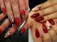 Modele unghii ascutite si colorate cu rosu