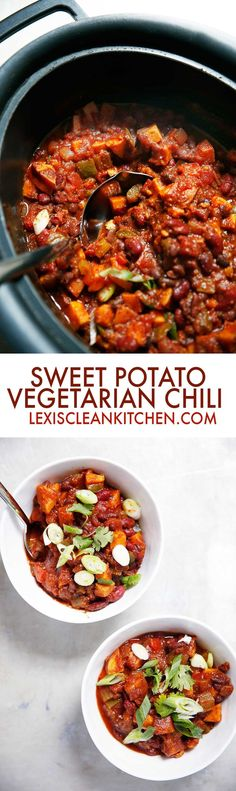 of the Best Ever Vegan Crock Pot Recipes Slow Cooker Sweet Potato Chili [vegetarian, dairy-free, paleo-friendly] Good Healthy Recipes, Whole Food Recipes, Vegetarian Recipes, Healthy Eats, Vegetarian Cooking, Vegan Meals, Slow Cooker Recipes, Crockpot Recipes, Cooking Recipes