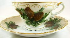 Sterling China TEA CUP & SAUCER vintage Pinecone Gold gilt Scalloped