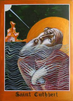 Saint Cuthbert – portrait, praying in the sea