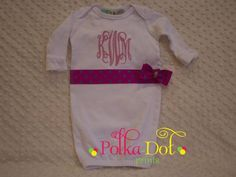 White baby gown monogrammed in hot pink with polka-dot ribbon  Custom Embroidery and Appliqué  www.facebook.com/polkadotprintsinc