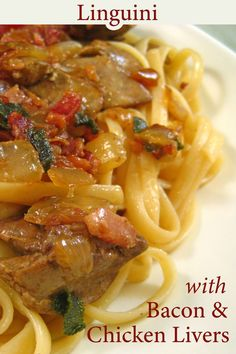 Like chicken livers? You'll love this Linguini with Chicken Livers & Bacon! #ChickenLivers #Pastafortwo #LiverBacon #LiverOnions Liver And Bacon, Liver And Onions, Chicken Livers, Chicken Bacon, Bacon Recipes, Cooking Recipes, Healthy Recipes, Rigatoni Recipes, Easy Recipes For Beginners