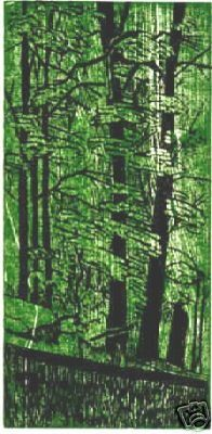 BLACKWATER WOODS hand printed 2 color woodcut