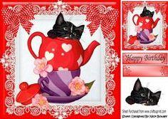 Little Black Katje in Theepot met Polkadot Bogen 8x8