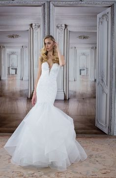 LOVE by Pnina Tornai - V-Neck Mermaid Gown in Beaded Lace