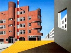 Stadsdeel, baksteen/beton,hommage a pittura metafisica, 1998, aquarelverf, gouacheverf, O-I. inkt, 136 x 186,5 cm