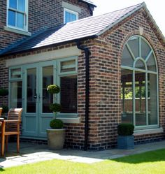 Orangery with Green upvc windows and doors Colour Brick Cosmetics say - This property's extension has been brick matched and can be challenging. We can take that challenge away Green Windows, Upvc Windows, Windows And Doors, Garden Room Extensions, House Extensions, Orangerie Extension, Small Room Design, French Country House, Diy Door