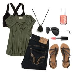 """""""Olive you😋"""" by madisondoscher on Polyvore featuring ASOS, Aerie, Hollister Co., Billabong, Ray-Ban, Essie and MAC Cosmetics"""