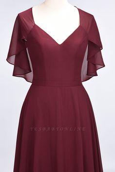 A-Line Chiffon Satin V-Neck short-sleeves Floor-Length Bridesmaid Dress Casual Dresses, Fashion Dresses, Satin Bridesmaid Dresses, Custom Dresses, Blouse Designs, Designer Dresses, Ideias Fashion, Wrap Dress, Cold Shoulder Dress