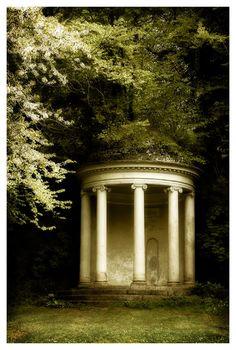 Small temple-like Folly on an old estate.  Mount Edgcumbe, England.  Agatha Christie's novel:  Endless Night  (1967)