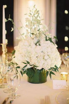 Caroline and Matthew, Destination Wedding at Round Hill Resort Jamaica - Low Hydrangea Centerpieces